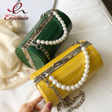 Stone Texture Cylindrical Pearl Handle Pu Fashion Casual Clutch Bag Ladies Shoulder Bag Handbag Women Crossbody Bag Female Bolsa