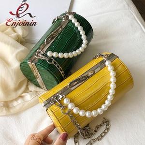 Image 1 - Stone Texture Cylindrical Pearl Handle Pu Fashion Casual Clutch Bag Ladies Shoulder Bag Handbag Women Crossbody Bag Female Bolsa
