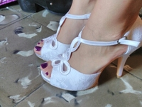 Bride Collections Summer Platform White Sandals High Heels T Strap Bridal Shoes Small Size