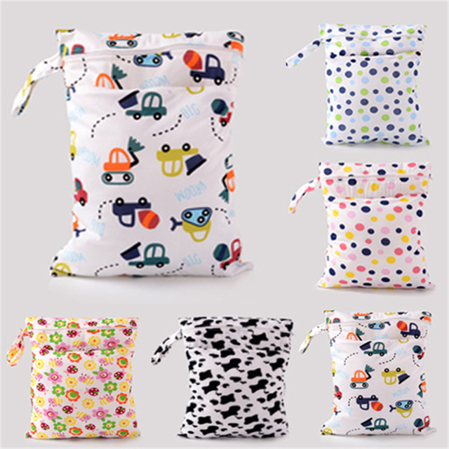 Baby Diaper Bags Character Print Changing Wet Mum Bag Cloth Diapers Tote 30x40cm