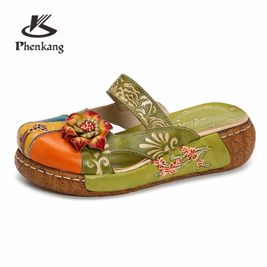 Genuine leather Platform shoes bottom designer vintage Sandals shoes handmade oxford shoes for women red blue