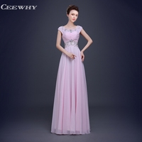 Backless Chiffon Women Formal Evening Gowns Floor Length Pleated Evening Party Prom Dress Sleeveless Crystal Beading