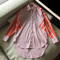 Для женщин негабаритных блузки и топы женские Кнопка нерегулярные подол одежда с длинным рукавом Свободная блузка Повседневное Дамы Лоску