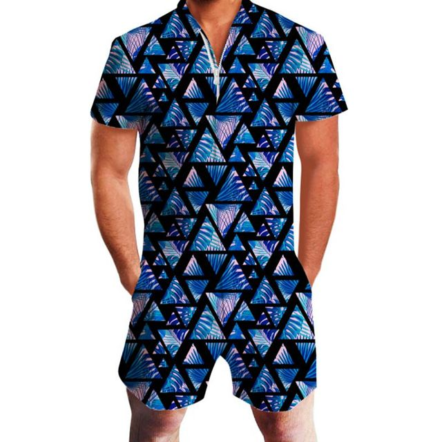 Floral Print Hawaiian Style Rompers Men – 21JS