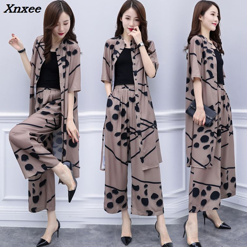 Large Big Size 2 Piece Set Women Wide Leg Trousers Suit Set Palazzo Pants Sash Tracksuit Cardigan Year-old Female Costume Xnxee