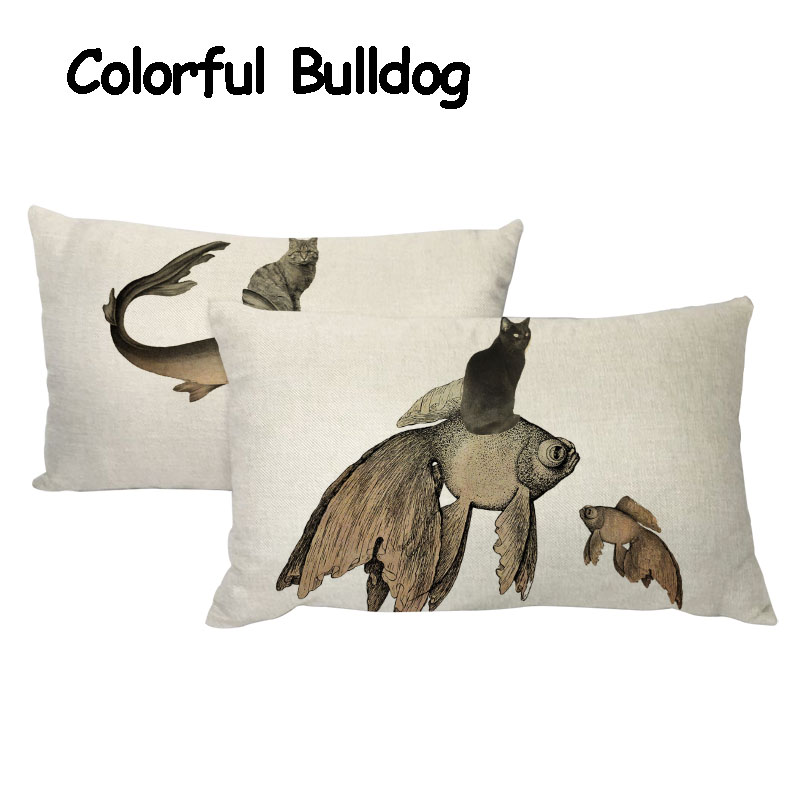 Cushion Cover 30*50 cm Cat Narwhal Sea Turtle Goldfish Pattern Linen Material Car Office Living Room Sofa Home Decor Pillowcases