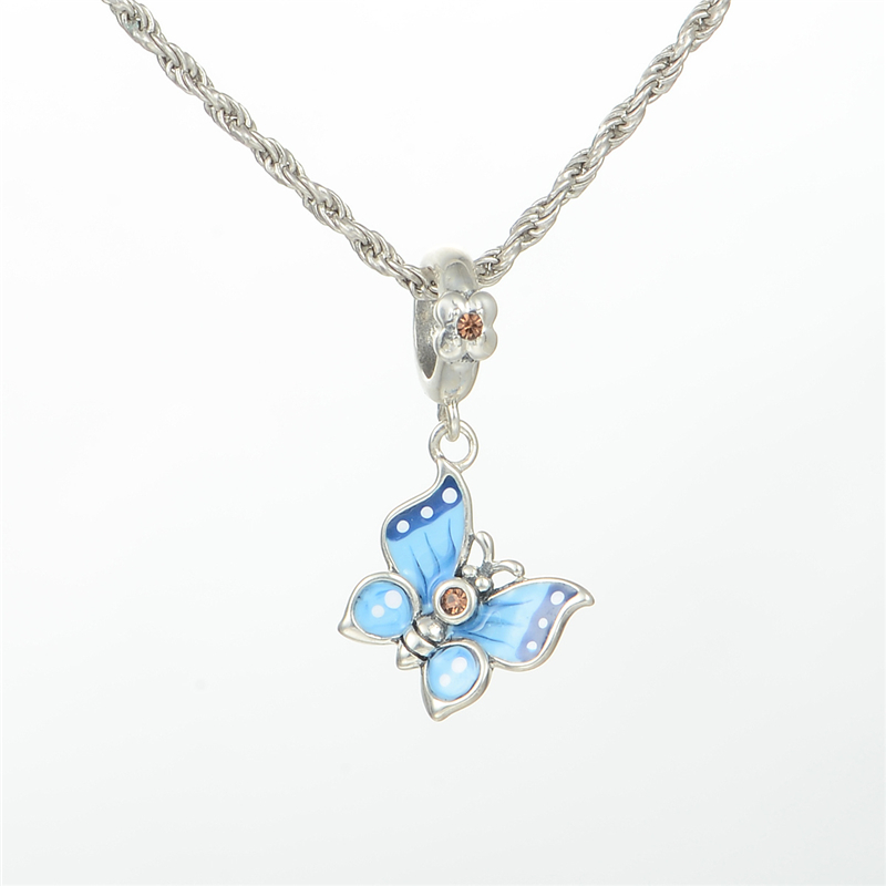 Re Enamel Butterfly Stones Beads 925 Sterling Silver Fine Jewelry For Women DIY Gift Fit European Charms Bracelets & Snake Chain