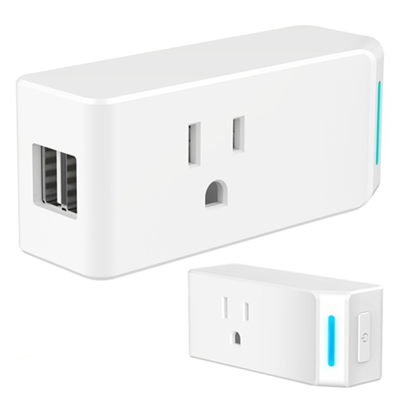 2PCS Mini WIFI Smart Socket US Plug Alexa and Google Voice Control For Smart Home Automation With USB ...