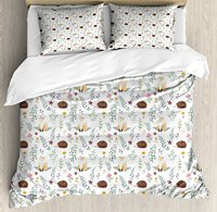 Duvet Cover Set, Rural Wildlife Pattern with Hedgehog and Baby Fox in Watercolors Kids Nature Theme, 4 Piece Bedding Set