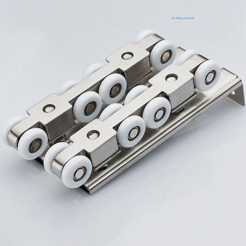 Acier inoxydable porte coulissante rouleau suspendu poulie suspendue muet rail roue balcon porte coulissante 8 roues, une paire par ensemble
