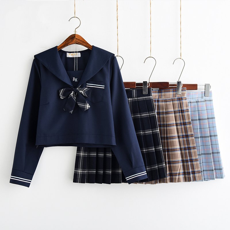 UPHYD School Uniforms England Plaid Skirt And Top Sailor Suits S-3XL Student JK Uniforms Anime Cosplay Costumes