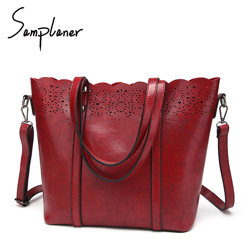 Samplaner Soft Leather Hollowe Out Totes Women Bucket Bag 2017 Large Lace Handbags Ladies Shoulder Bags Female Bag Mujer Bolsas
