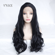 V'NICE Natural Long Black Wavy Braided High Temperature Fiber Middle Part