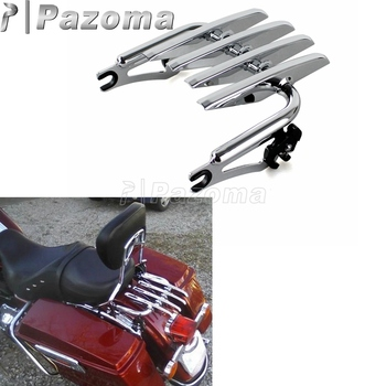 Chrome Detachable Two-up Stealth Luggage Rack for Harley Touring Road King Street Electra Glide FLHR FLHX FLHT FLTR 09-15