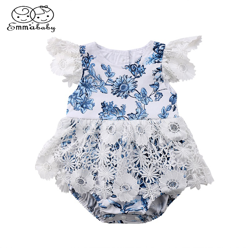 Emmababy Cute Toddler Newborn Baby Girls Princess Lace Fly Sleeve   Romper   Floral Jumpsuit Outfits Flower Sunsuit