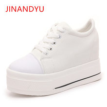 Canvas High Heels Shoes Wedge Shoes Ladies Casual Platform Wedges Shoes Women 2019 Chaussure Femme Swing Slimming Shoe White стоимость