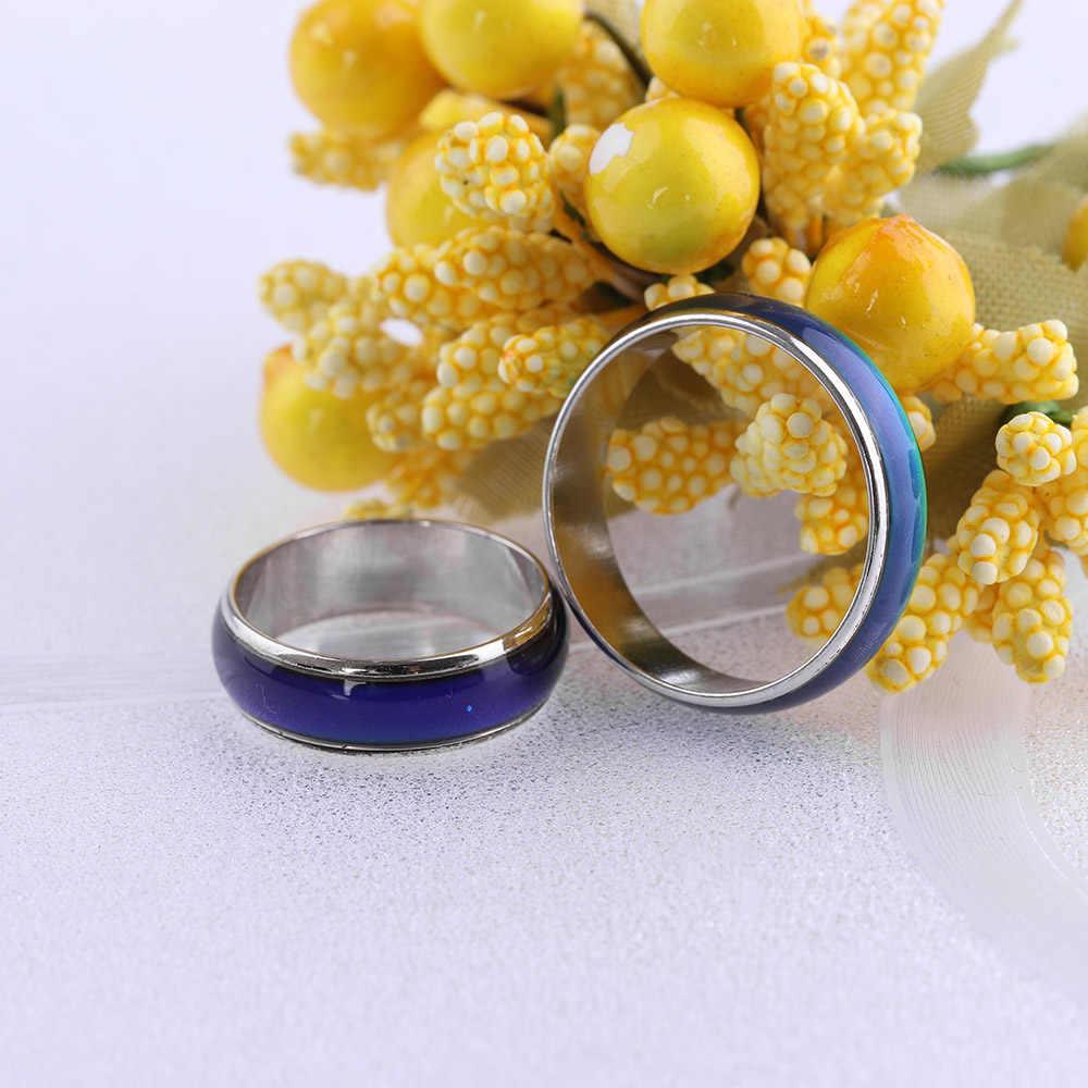 Jóias finas mudando a cor humor anéis sentimento emoção temperatura anel largo 6mm inteligente bijouterie jóias anillos mujer halka