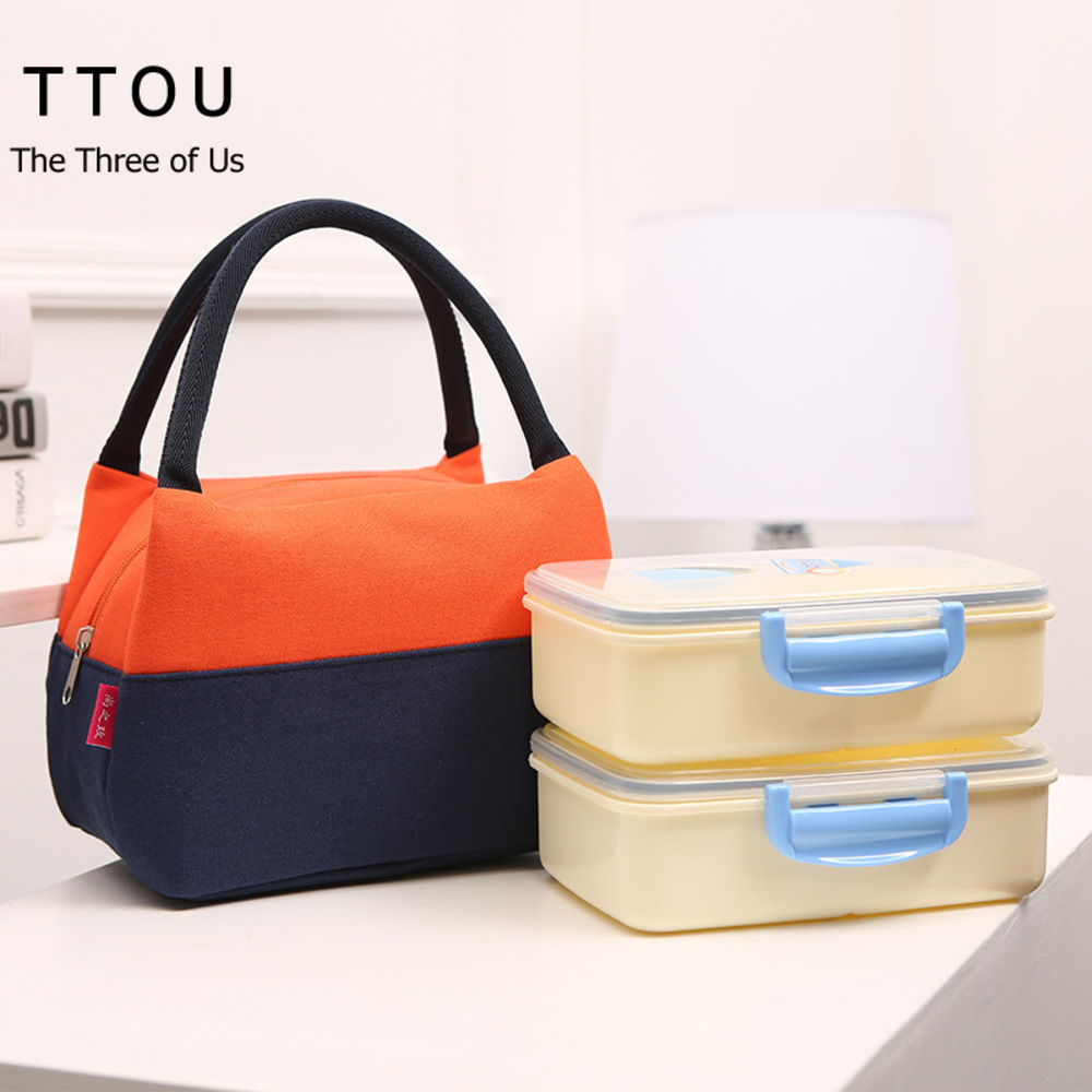 TTOU Women Waterproof Portable Picnic Insulated Food Storage Box Tote Insulated Lunch Bag Cooler 1 Person Small Portable Bag