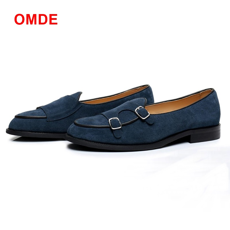 OMDE New Fashion Monk Strap Shoes Men Fashion Slip On Suede Shoes Mens Mocassin Homme Loafers Plus Size Summer Man Slipper