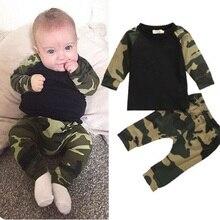 Милая камуфляжная футболка для новорожденных мальчиков, топ и длинные штаны, армейский зеленый комплект одежды для маленьких мальчиков