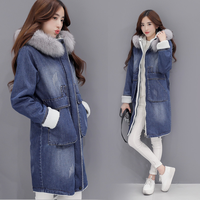 Winter 2016 Women Fashion Denim Jacket With Fox Fur Coat Female Long Denim Jeans Thick Women ...