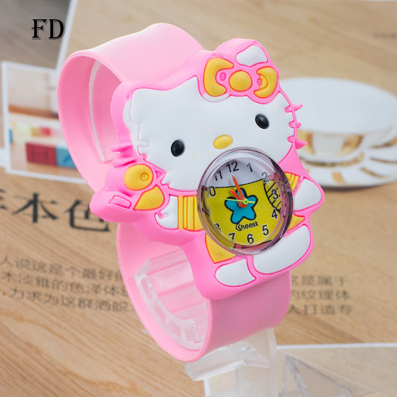 FD hello kitty Pattern 3D Rubber Strap Children Sports Watch Hot Cartoon Casual Girl Kids Quartz Wristwatch 2017 Cute baby Clock beautiful cartoon rubber strap quartz watch with plane and cloud shaped watchband for children azure