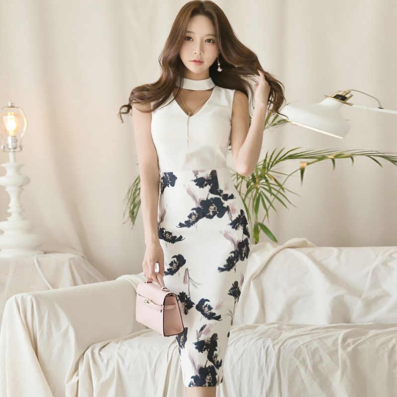 Lato Hollow Out bez rękawów biała szyfonowa bluzka drukuj spódnica trzy czwarte dwuczęściowy ołówek Sexy sukienka na imprezę
