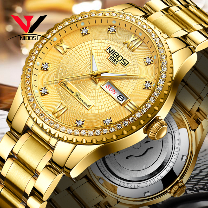 NIBOSI Golden Luxury Mechanical Watches For Men Waterproof Top Brand Casual Business Wristwatch Classic Male Clock Full Steel|Mechanical Watches| |  - title=