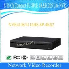 Free Shipping DAHUA 8/16 Channel Compact 1U 8PoE 4K&H.265 Lite NVR without Logo NVR4108HS-8P-4KS2/NVR4116HS-8P-4KS2