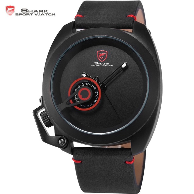 Tawny Shark Sport Watch Red Special Date Classic Crown Design Leather Band Male Military Waterproof Quartz Men's Watches / SH446