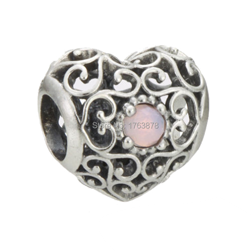 0499a2dd1 ... Authentic 925 Sterling Silver October Signature Heart with Opalescent  Pink Crystal Charm Bead Fit Pandora Bracelet ...