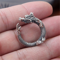 BESTLYBUY S925 wholesale sterling silver jewelry handmade Vintage Silver Dragon domineering personality personality ring opening