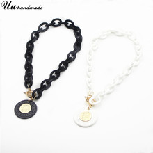 Statement Necklace Acrylic Coin Pendant geometric Necklaces Pendants for Women Collier Choker Jewelry Chokers Kolye Collares(China)