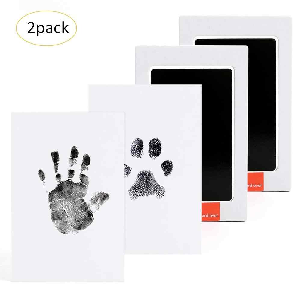 2PCS เด็กรอยเท้า Handprint แผ่นหมึกปลอดสารพิษปลอดสารพิษแผ่นสำหรับอาบน้ำเด็ก