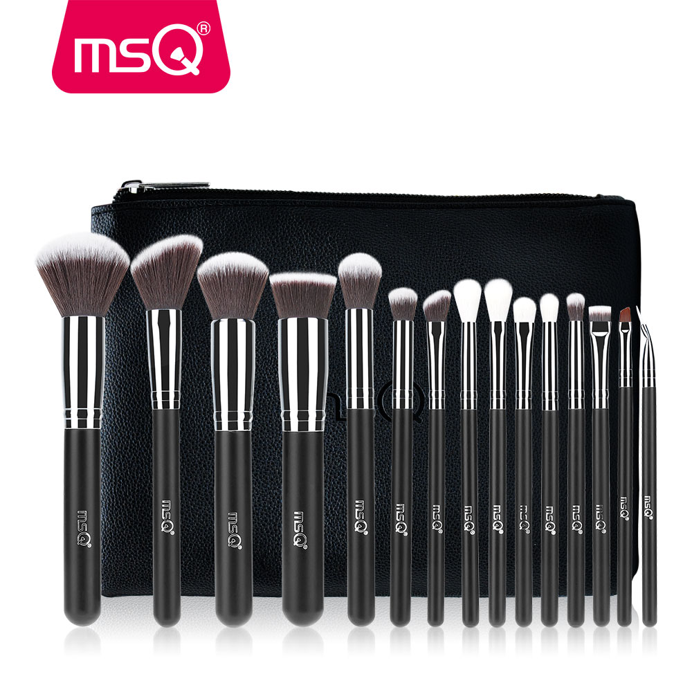 MSQ Pro 15st make-up kwasten set poeder foundation oogschaduw make-up borstels cosmetica zacht synthetisch haar met pu lederen tas
