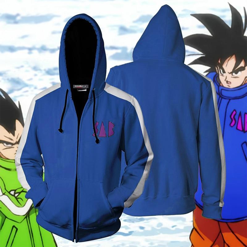 BIANYILONG 2019 New Autumn Winter 3D print Dragon Ball SAB Vegeta And Goku Cosplay Zip Up Hoodie Jacket clothing-in Hoodies & Sweatshirts from Men's Clothing