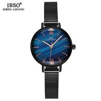 IBSO Brand Creative Cut Glass Ladies Quartz Watch Wome Stainless Steel Mesh Strap Fashion Women Wrist Watches Montre Femme 2018
