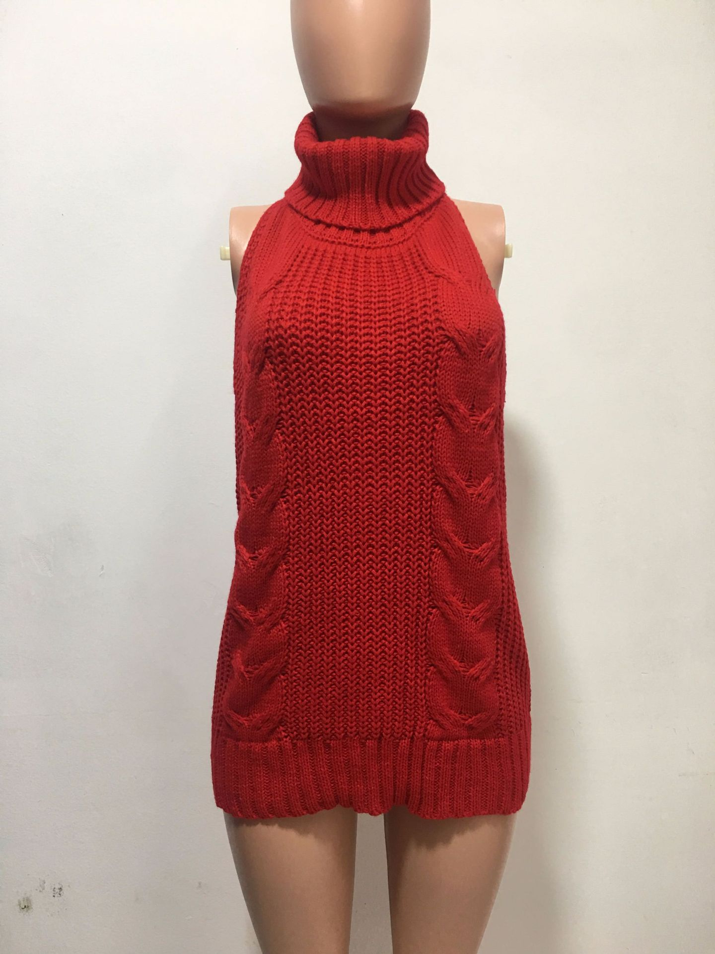 NEW Red Loose Hollow Open Sweater Knitted Pink Dress Recommend Winter Style Women Turtleneck Backless Dress Woman Solid Vestidos hot sale open front geometry pattern batwing winter loose cloak coat poncho cape for women