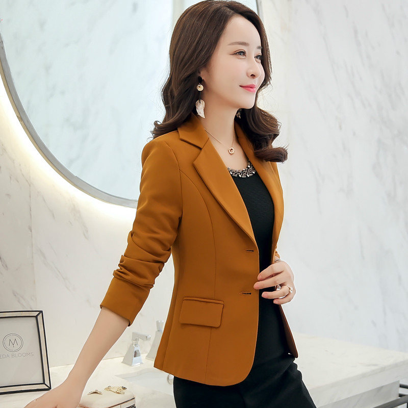 2020 Autumn Korean Version Women Suit  New Style Winter Single-breasted Pure Color Designs Female Fashion Slim Casual Short Tops