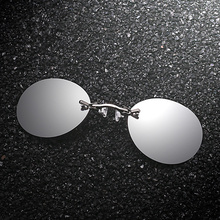 Round Rimless Sunglasses Men Classic Clamp Nose Sun