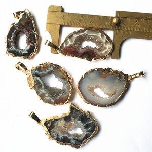 Image 4 - טבעי ברזילאי Electroplated זהב צבע קצוות פרוסה פתוח Agates Geode Drusy Druzys תליוני שרשרת נשים תכשיטי ביצוע