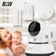 360 Diploma Wifi Digicam IP + Door Sensor +Infrared Movement Sensor +Smoke Detector Wi-fi Safety Digicam 720P HD BWIPC014