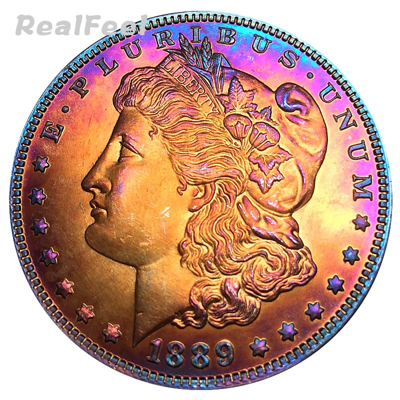 1889 US 90% silver coins replica Morgan 1 dollar old copy full versions collectible toning coins decoration liberty art craft