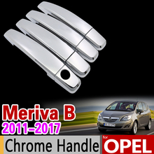 for Opel Meriva B 2011-2017 Chrome Handle Cover Trim Set Vauxhall 2012 2013 2014 2015 2016 Car Accessories Sticker Car Styling