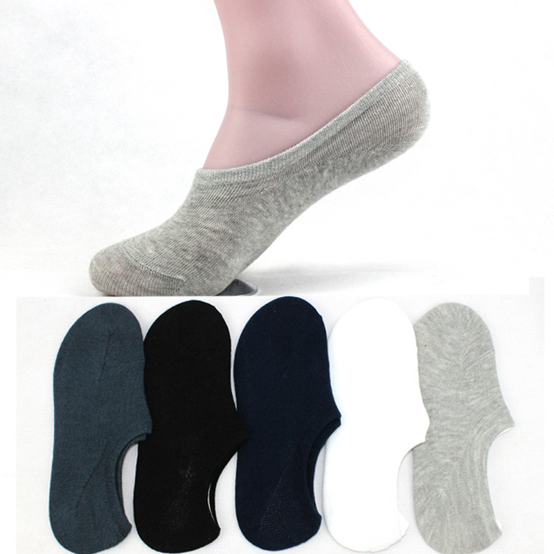 10 Pair/ Lot Hot Sale Male Boat   Socks   Quality Casual Black Gray White 5 Solid Colors Soft Comfortable Cool Cotton   Sock   For Men