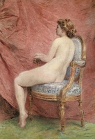 Hermosa del arte del arte pintura al óleo desnuda imagen una joven dama desnuda sentada en silla de lona prints arte para decoración de la pared
