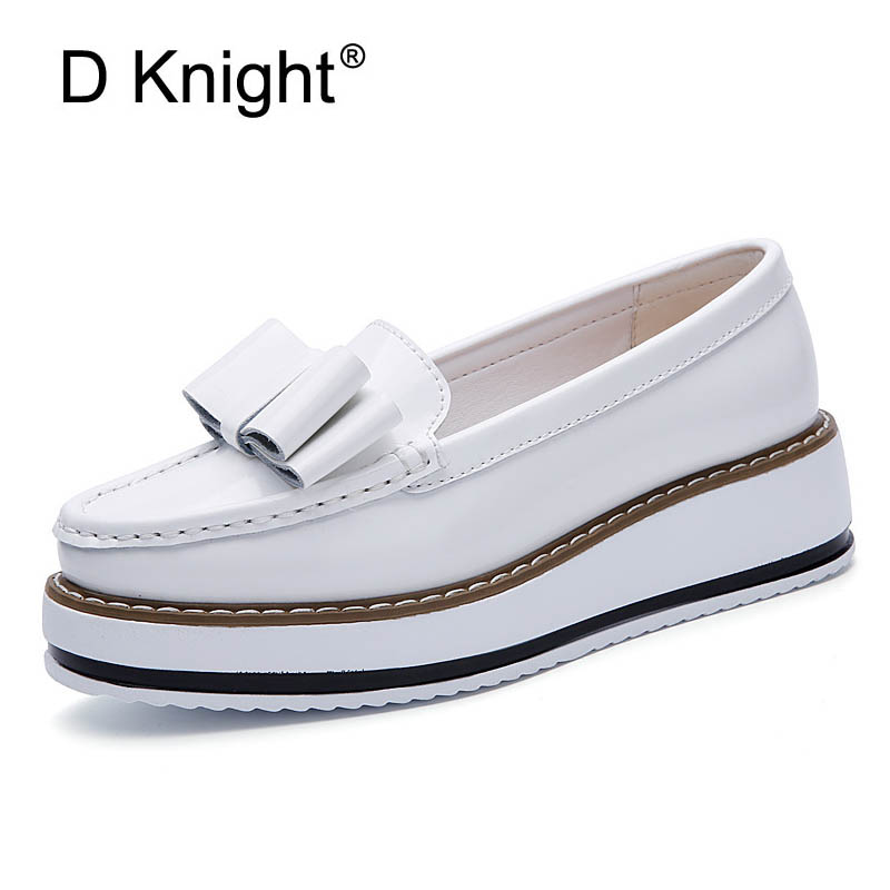 New Ladies Casual Genuine Patent Leather Loafer Fashion Bow Round Toe Slip-on Cow Leather Platform Flats For Women Size 35-40