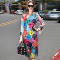 2017 New Sexy Runway Desinger Dresses High Quality Women S O Neck Long Sleeve Colorfull Lace