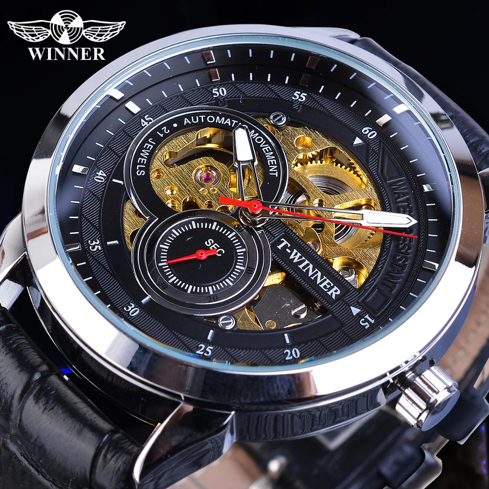 Winner Men Automatic Watches Golden Transparent Skeleton Mechanical Movement Black Leather Wristwatches Male Clock Relogios Gift