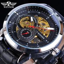 цена на Winner Men Automatic Watches Golden Transparent Skeleton Mechanical Movement Black Leather Wristwatches Male Clock Relogios Gift